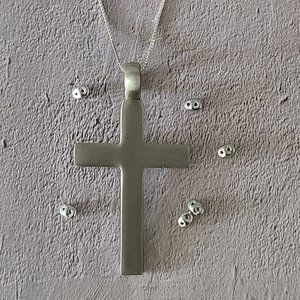 Jewelry - Pewter double sided 61x34mm cross on a chain